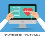 doctor's hands with stethoscope ... | Shutterstock .eps vector #447594217