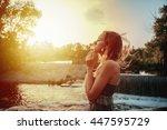 beautiful girl standing near... | Shutterstock . vector #447595729