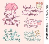 vector set of night cute... | Shutterstock .eps vector #447609709