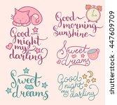 vector set of night cute... | Shutterstock .eps vector #447609709