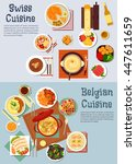swiss cuisine fondue and... | Shutterstock .eps vector #447611659