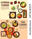 korean and thai cuisine with... | Shutterstock .eps vector #447618325