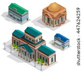 bank and museum city buildings... | Shutterstock .eps vector #447624259