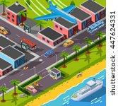 isometric top view transport... | Shutterstock .eps vector #447624331