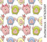 cute sheep seamless pattern for ... | Shutterstock . vector #447626569