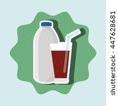 soda bottle and glass isolated... | Shutterstock .eps vector #447628681