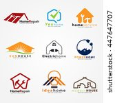 home service and modern logo... | Shutterstock .eps vector #447647707