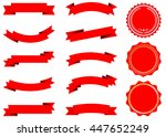 ribbon vector icon set red... | Shutterstock .eps vector #447652249