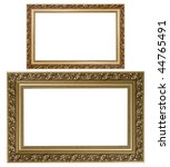 Two gold plated wooden picture frames isolated on white - stock photo