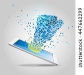 polygon hand  technology... | Shutterstock .eps vector #447662299