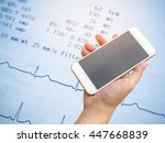 smartphone on hand with... | Shutterstock . vector #447668839