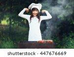 the children preparing sausages ... | Shutterstock . vector #447676669