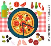 round hot delicious tasty... | Shutterstock .eps vector #447681139