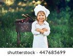 the children preparing sausages ... | Shutterstock . vector #447685699