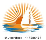 white sailboat and its... | Shutterstock .eps vector #447686497