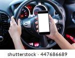 woman driver using smart phone... | Shutterstock . vector #447686689