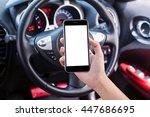 woman driver using smart phone... | Shutterstock . vector #447686695
