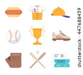baseball game equipment icons... | Shutterstock .eps vector #447688459