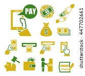 pay  wage  money icon set | Shutterstock .eps vector #447702661
