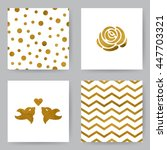 Set Of Card With Golden Zigzag...