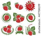 strawberries set. vector | Shutterstock .eps vector #447708199