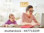 happy family. mom and baby. a... | Shutterstock . vector #447713239