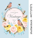 vintage card with nightingale   Shutterstock .eps vector #447719371