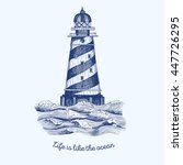 lighthouse in the wave  vector...   Shutterstock .eps vector #447726295
