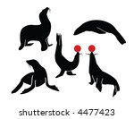 a collection of sea lion poses | Shutterstock .eps vector #4477423