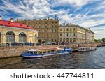 Small photo of Saint Petersburg, Russia, June 13, 2015. Riverbuses accosting to the pier at The Moyka river.