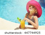 little girl in watter pool in... | Shutterstock . vector #447744925