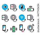 wireless charging pad for... | Shutterstock .eps vector #447745654