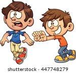 cartoon kid pushing another kid.... | Shutterstock .eps vector #447748279