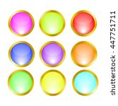 buttons icons gold frame | Shutterstock .eps vector #447751711