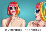 vector beautiful woman wearing...   Shutterstock .eps vector #447755689