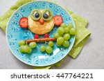 cute owl pancake with fruits... | Shutterstock . vector #447764221