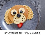funny dog pancake with berries... | Shutterstock . vector #447766555
