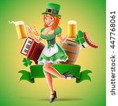 irish beer with girl | Shutterstock .eps vector #447768061