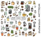hand drawn doodle coffee time... | Shutterstock .eps vector #447778144