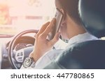 man talking on the phone while... | Shutterstock . vector #447780865