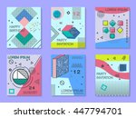 set of cards with geometric... | Shutterstock .eps vector #447794701