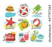 set of hand drawn summer signs... | Shutterstock .eps vector #447797365