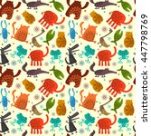 seamless pattern with animals | Shutterstock .eps vector #447798769