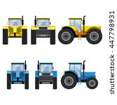 yellow and blue tractors with...   Shutterstock .eps vector #447798931