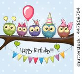 five owls on a brunch with... | Shutterstock .eps vector #447806704