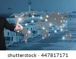 businessman working with... | Shutterstock . vector #447817171