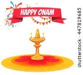 onam sale banner with ribbon.... | Shutterstock .eps vector #447819685