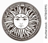 bohemian hand drawn sun. vector ... | Shutterstock .eps vector #447843991
