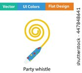party whistle icon. flat color...
