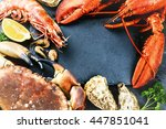 food frame with crustacean for... | Shutterstock . vector #447851041